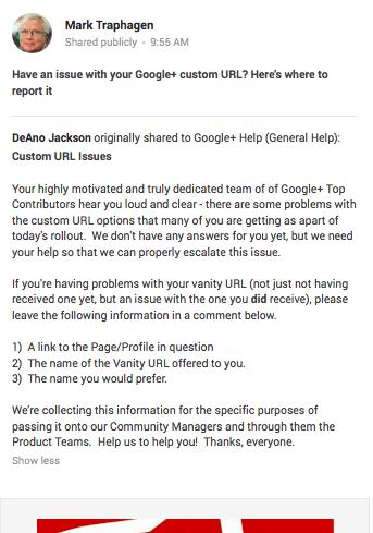 Mark Traphagen Google Plus vanity URL post