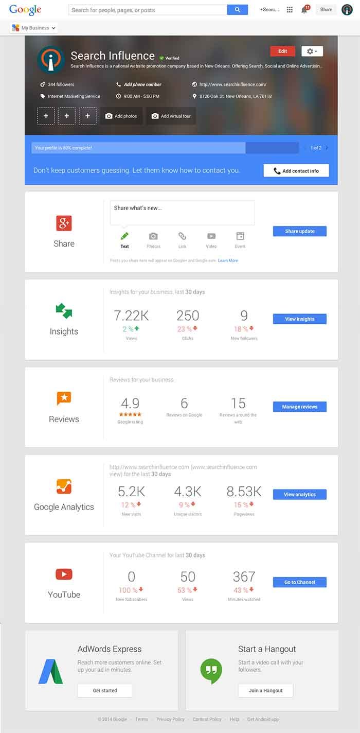 Google My Business Dashboard Image - Search Influence