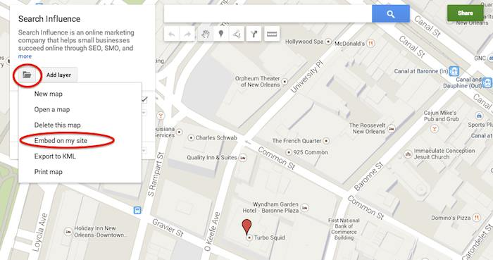 New Google My Maps Embed Location - Search Influence
