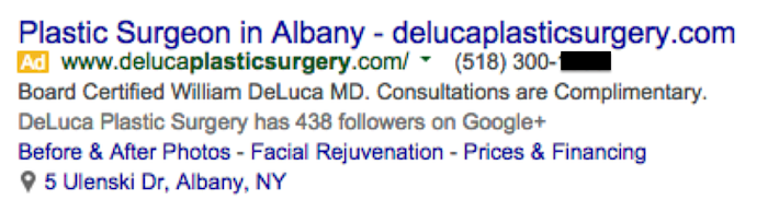 Plastic Surgery Google Ad Phone Image - Search Influence