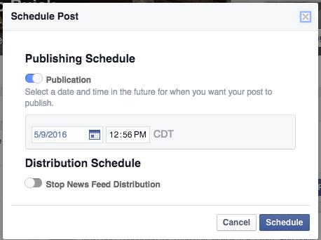 Facebook Screenshot: Scheduling
