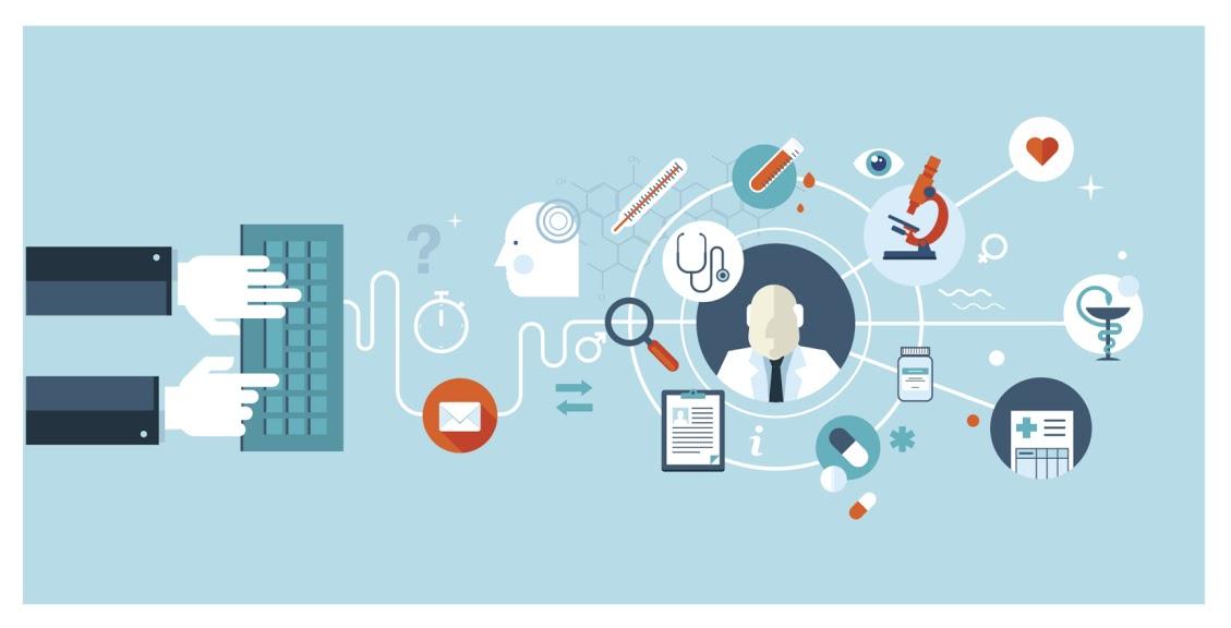 Set of flat design concepts for online medical services