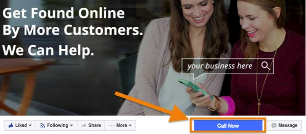 Image of Call To Action Button On Facebook Page - Search Influence