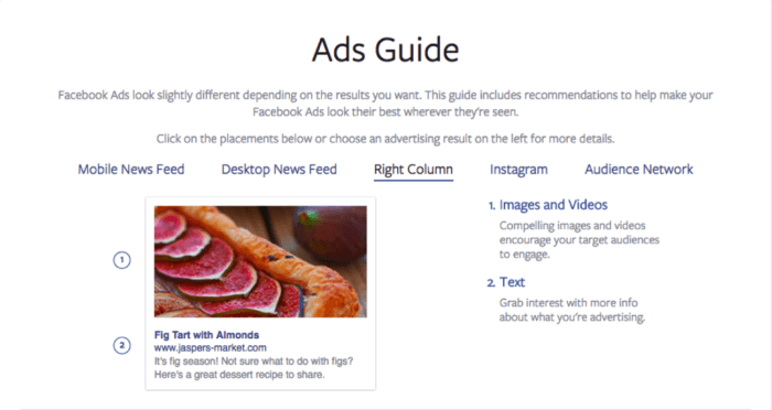 Image of Facebook's Ads Guide for right column information - Search Influence