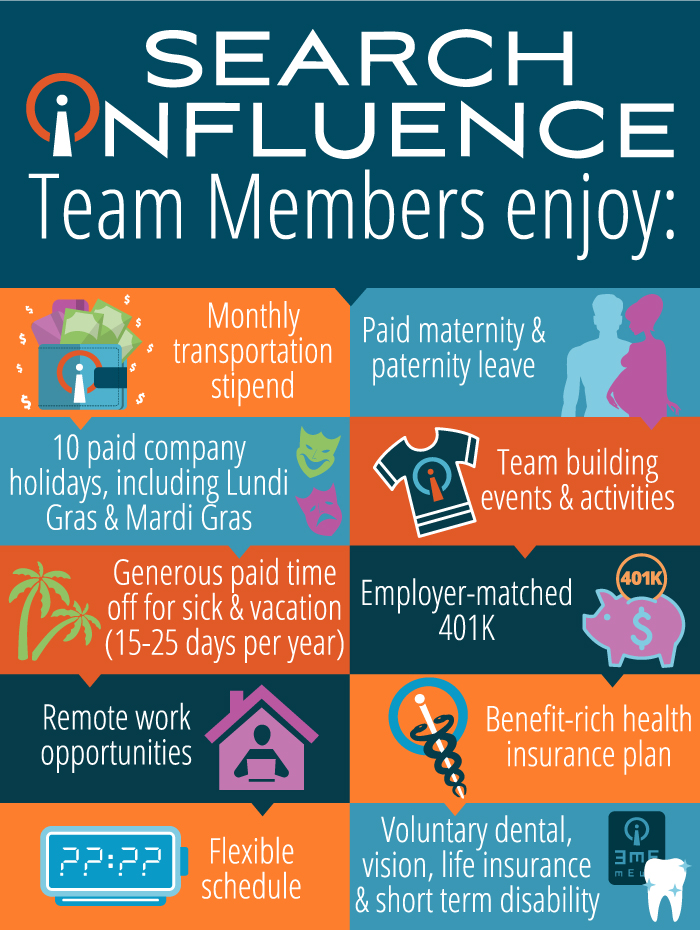 Search Influence team members enjoy these benefits