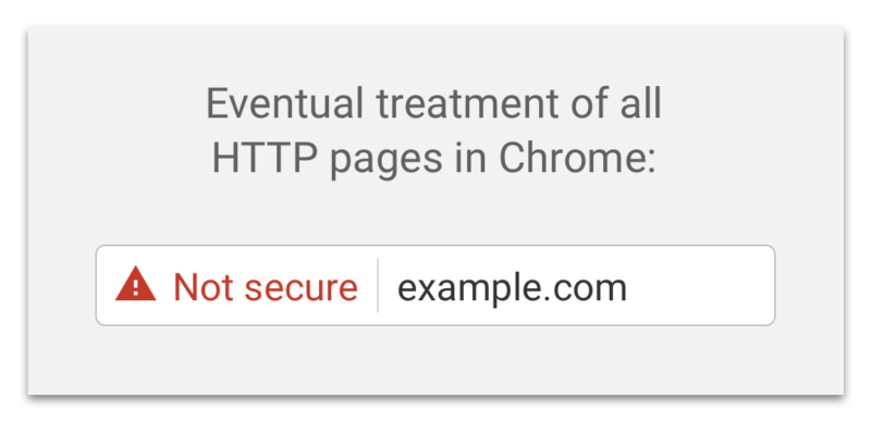 """Screenshot of Google's """"not secure"""" warning - Search Influence"""