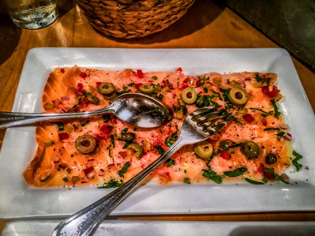 Salmon carpaccio at La Querencia