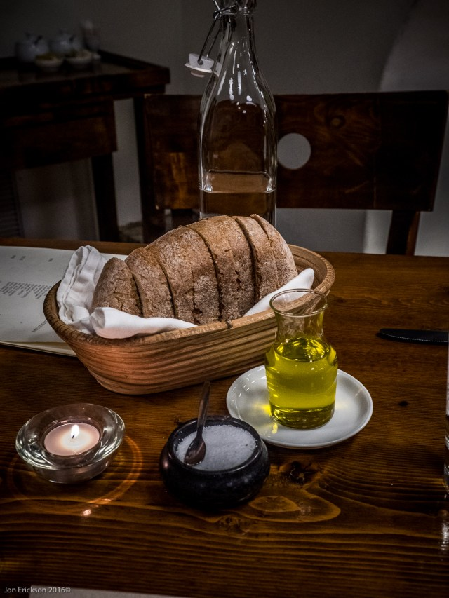 Outstanding French Intergral bread and local olive oil from Rancho Cortez.