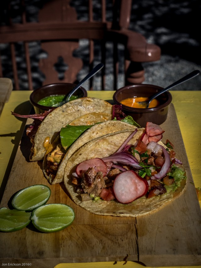 The Lechon was cooked for six hours over a slow fire wrapped in leaves and both tacos were excellent