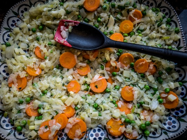 Sauting the Leeks, Carrots, Onions and Garlic