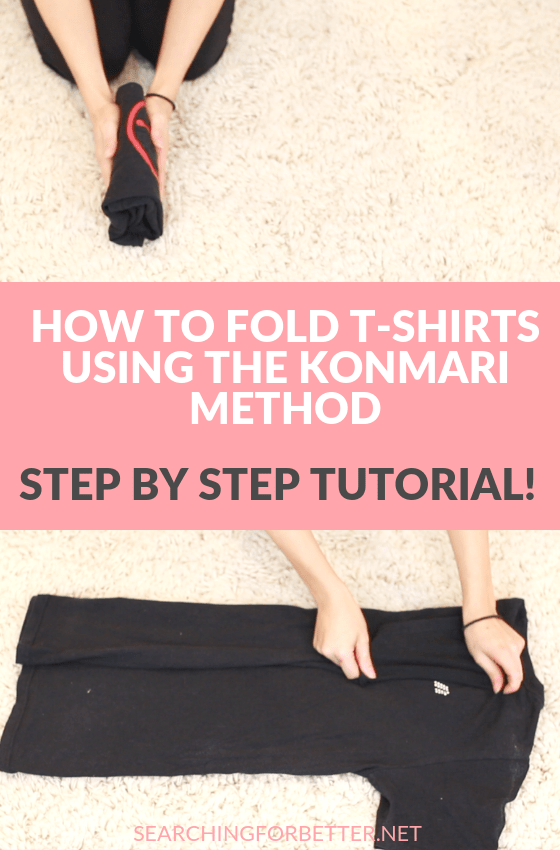 Konmari Folding Shirts Tutorial. This simple video tutorial shows you how to fold your shirts the konmari way so they fit nice and neatly into your drawers! This life changing way of decluttering and organizing is my favourite way to keep things sorted in my home! #konmari #tidying #organizing #healthylifestyle #organize #declutter
