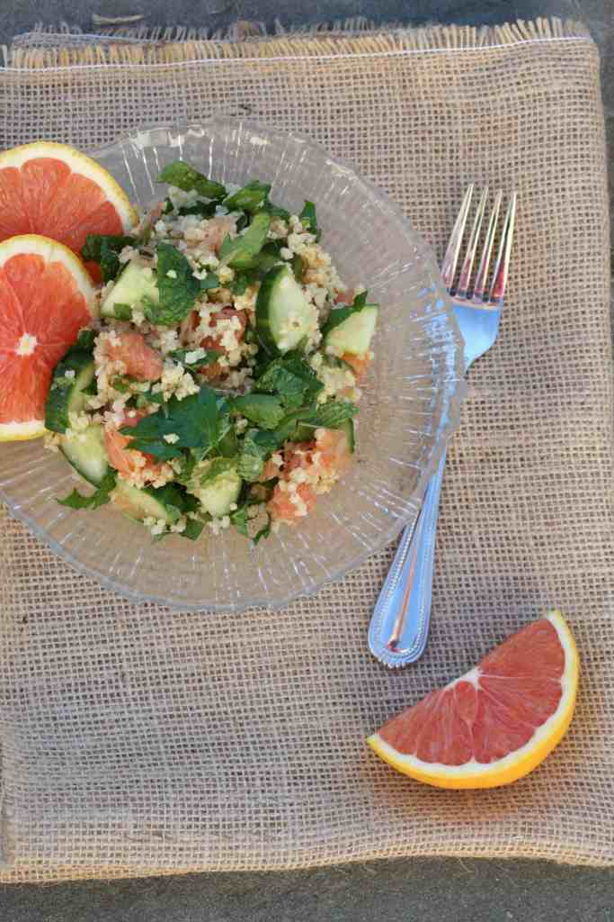 millet salad with oranges and cucumbers