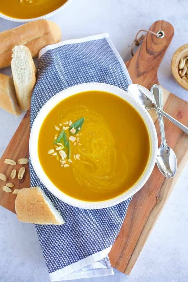 pumpkin curry soup in bowl
