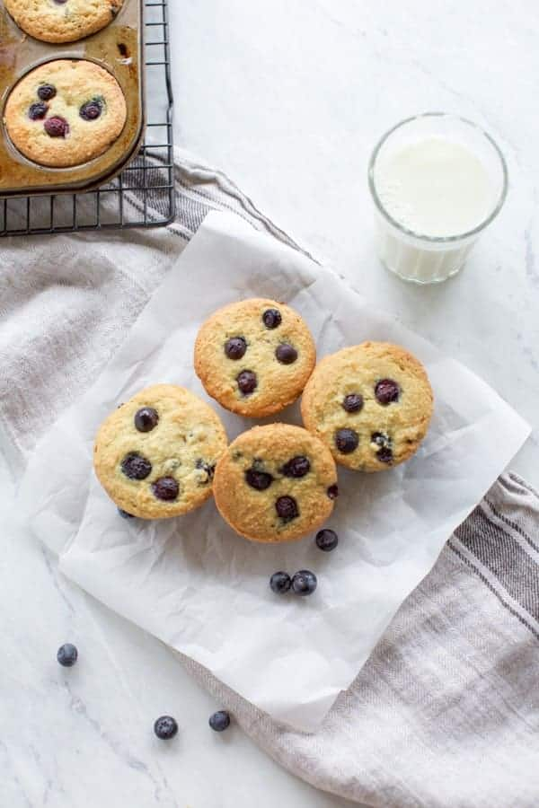 Keto blueberry muffins with milk