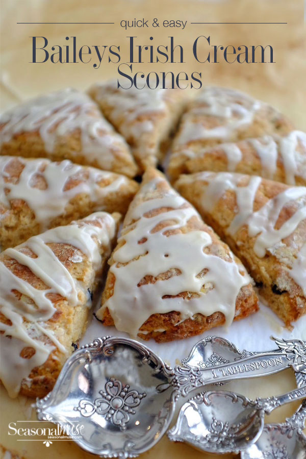 Quick and Easy Baileys Irish Cream Scones— YUM! These scones have a lovely crust and a tender texture — lower fat version too! You won't need to go the coffee shop any more . . . | seasonalmuse.com