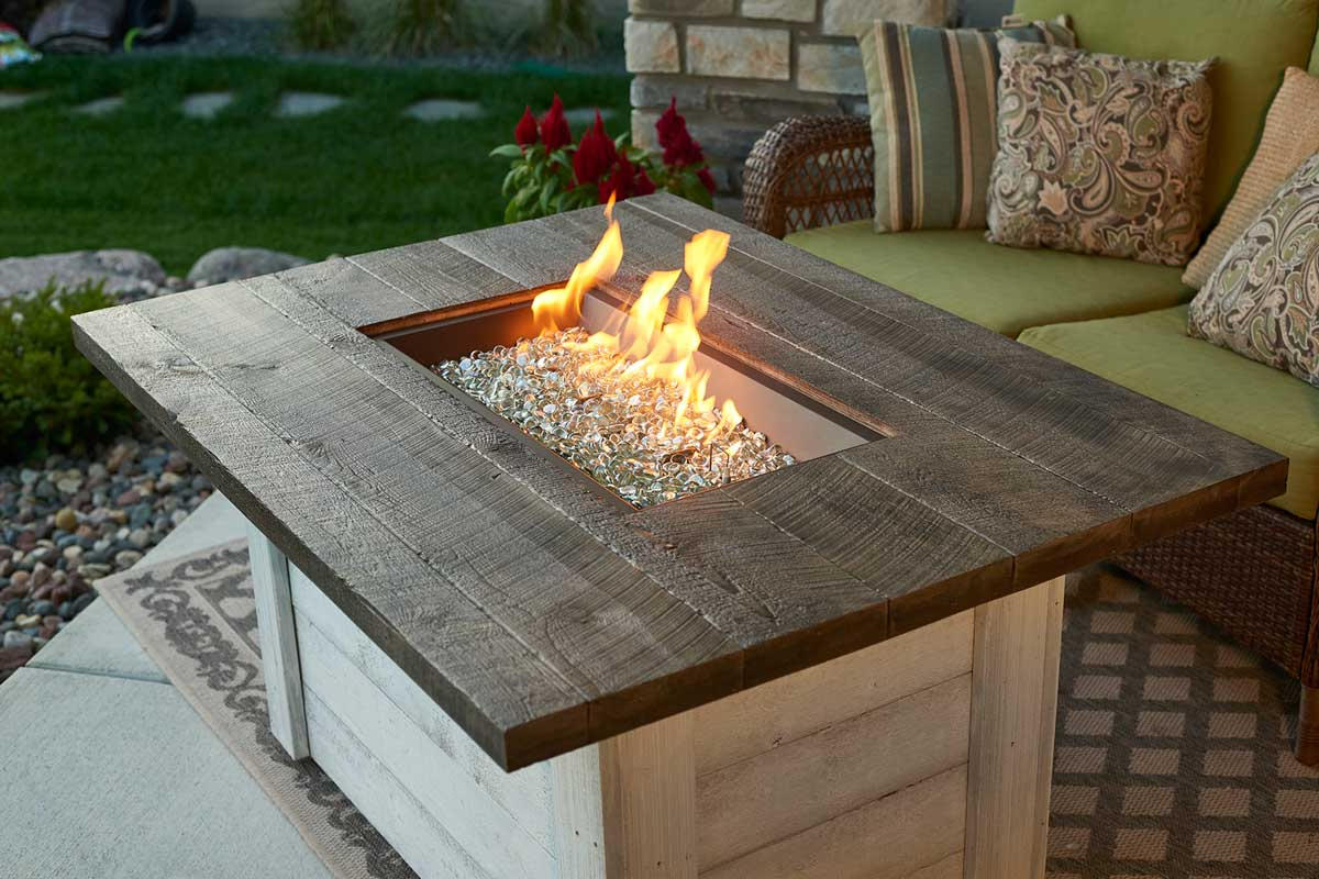 The Outdoor Greatroom Company Alcott Rectangular Gas Fire ... on Outdoor Dining Tables With Fire Pit id=25841