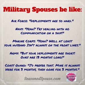 Who has been in this conversation? Military spouse meme, deployment humor.