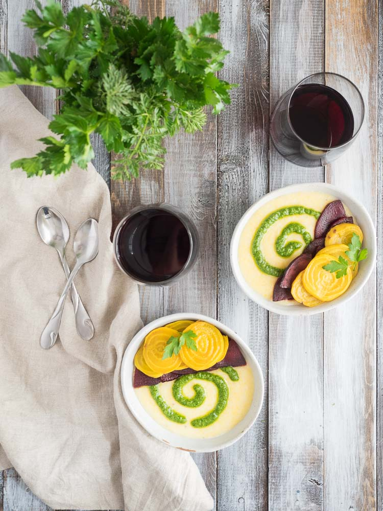 Goat Cheese Polenta | This warm, creamy, goat cheese polenta with roasted beets and bright arugula pesto is a delicious dish for a dinner party or date night at home. | SeasonedVegetable.com