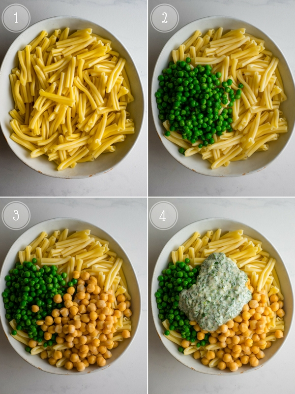 Step by step collage of adding ingredients for this easy pasta salad.