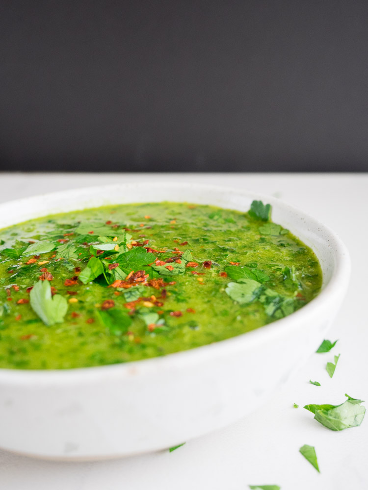 Easy Chimichurri Sauce | An easy, fresh Argentinean sauce made with parsley and cilantro. Red pepper flakes add a bit of heat! | SeasonedVegetable.com