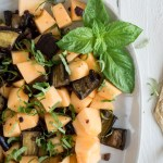 Eggplant Salad with Melon | This roasted eggplant salad with melon is sweet, savory, and a bit smoky. Olive and basil add pops of flavor. | SeasonedVegetable.com