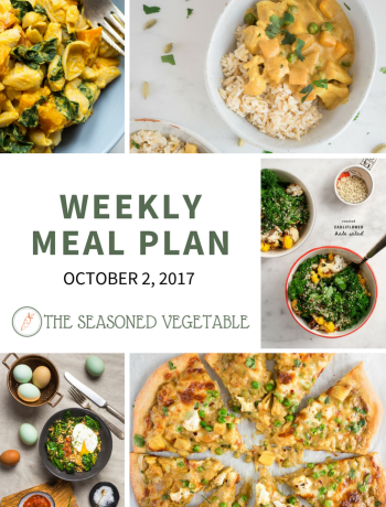 Weekly Meal Plans from The Seasoned Vegetable - October 23, 2017 #mealplan #vegetarianrecipes