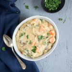 Repurposed Leftover Vegetable Chowder | An easy leftover recipe, this vegetable chowder is vegan and gluten free. Use leftover mashed potatoes and roasted vegetables for a delicious, hearty soup that's ready in under 30 minutes. | SeasonedVegetable.com #leftoverrecipe #thanksgivingleftovers #veganchowder