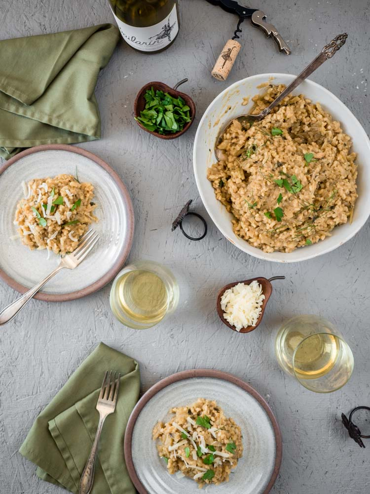 Brown Rice Risotto with Apple and Sage   An easy, no-stir brown rice risotto with fennel, apple and pureed cannellini beans is perfect for a hearty, stick to your ribs, fall dinner.   SeasonedVegetable.com #winepairing #veganrisotto #fallrecipe #veganthanksgiving
