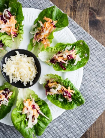 Caesar Salad Lettuce Cups | These vegetarian caesar salad lettuce cups are the perfect appetizer! Easy, gluten free finger food to help you get more vegetables. | SeasonedVegetable.com #caesarsaladrecipe #caesarsaladappetizer #vegetarianfingerfood