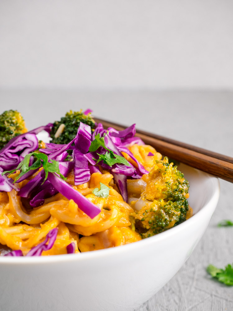 Saucy Panang Curry Noodle Bowl | Creamy, nutty, saucy panang curry noodles are served with broccoli, cabbage, carrots and tofu for a quick and easy vegetarian lunch or dinner. | SeasonedVegetable.com #noodle #curry #recipe #vegetarian #vegan