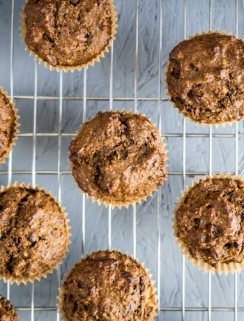 Banana oat muffins on a cooling rack.