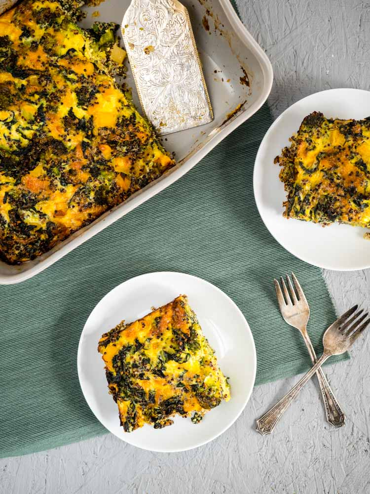 Serving vegetarian breakfast casserole