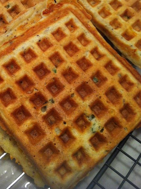 Savory Cheddar Scallion Waffles