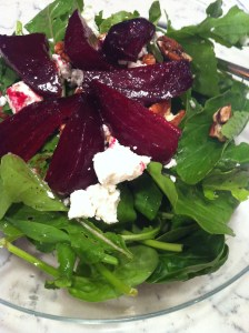 Balsamic Roasted Beet Salad with Goat Cheese and Pecans (A Seat at the Table)