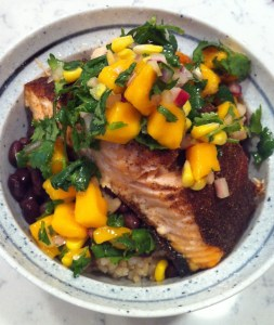 Caribbean Jerk Salmon Bowl with Mango Salsa (A Seat at the Table)
