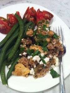 Spiced Eggplant, Chickpea, and Bulgur Salad meal (A Seat at the Table)