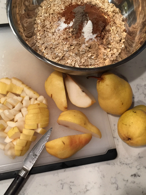 Spiced Pear Baked Oatmeal Prep (A Seat at the Table)