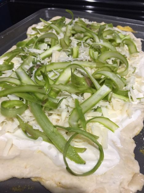 White Asparagus Pizza before baking (A Seat at the Table)