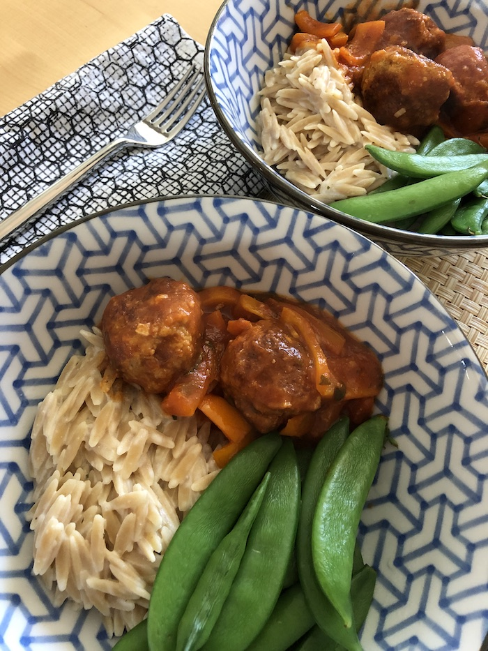 Turkey Meatballs with Peppers and Orzo (A Seat at the Table)