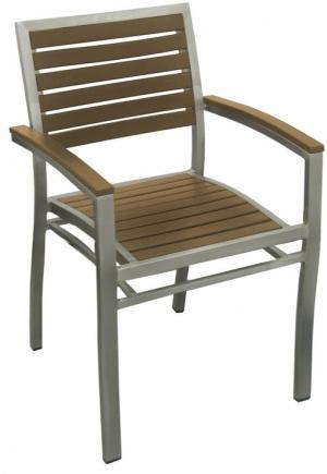 aluminum patio arm chair with plastic teak