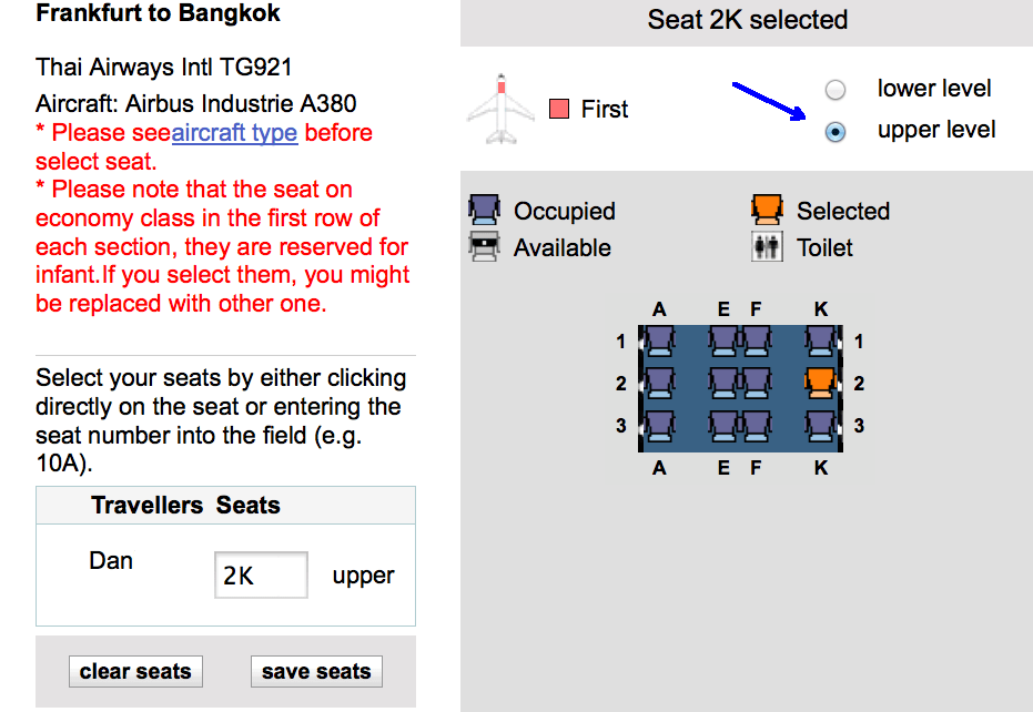 Thai Airways Seat Selection