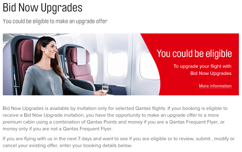 Qantas Bid Now Upgrades