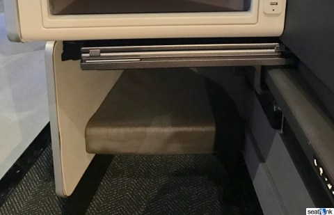 The smaller aisle-side foot well in the new United Polaris business class seat