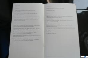 British Airways first class dinner menu