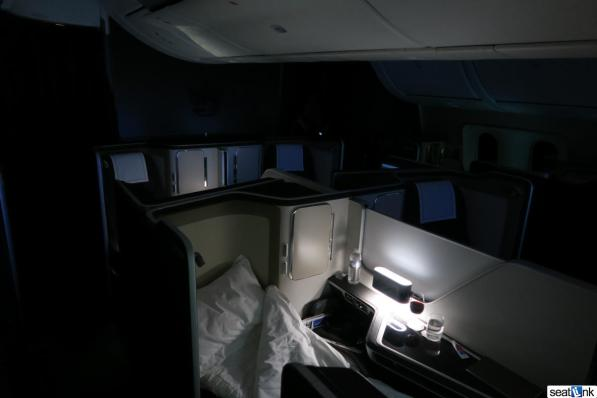 The British Airways 787-9 first class cabin at night