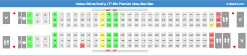 Alaska Airlines 737-800 Premium Class Seating Chart