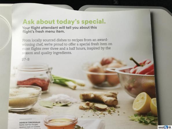 Alaska Airlines Economy Food Menu