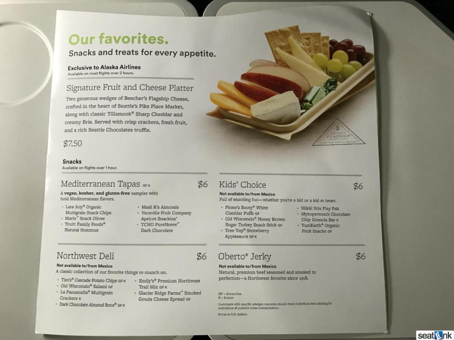 Alaska Airlines economy snacks for purchase