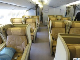 Forward business class cabin on Singapore's 777-200