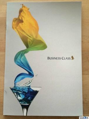The Singapore business class menu